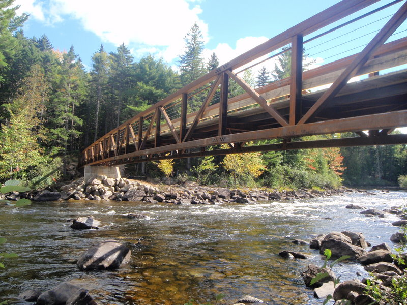 The new bridge over the Dead River connects to the trail leading to the Grand Falls Hut. The bridge and the hut will be dedicated on Saturday.
