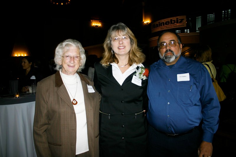 Award winner Mary Howes, who heads Howie's Welding & Fabrication and Otis Mill Ventures, with her mother, Jeannette Couture, and husband Tim DeMillo.