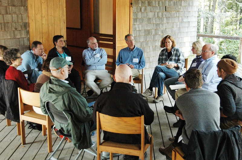 """Discussion groups dotted the campus of the Haystack Mountain School of Crafts last week in Deer Isle, site of """"Cultural Summit 2010: A Gathering of Maine's Arts Leaders."""