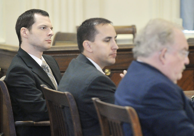 Jason Twardus, left, and his defense team led by Daniel Lilley, right, listen to prosecutor William Stokes during closing arguments in the murder trial Thursday.
