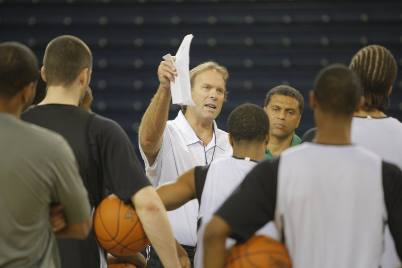 Kurt Rambis, now coach of the Minnesota Timberwolves, held a practice with his team Thursday at the Portland Expo – a one-day stopover on the way to meeting the Los Angeles Lakers in London.