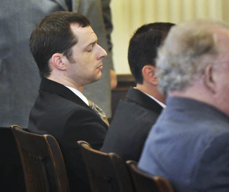 Jason Twardus reacts to the jury's verdict Friday in York County Superior Court. Twardus was found guilty of murdering his ex-fiancee, Kelly Gorham, at her Alfred apartment in August 2007.