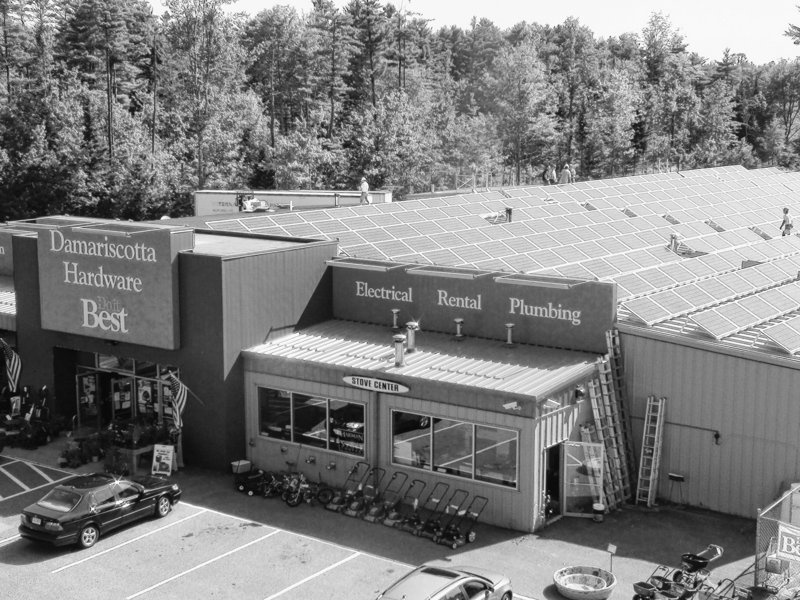 Damariscotta Hardware's rooftop grid of solar panels meets about 70 percent of the store's electricity needs.