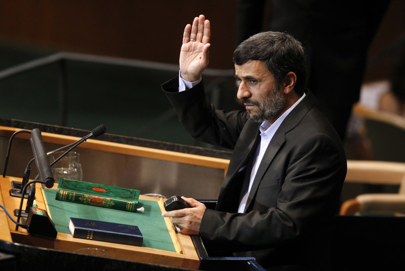 Iranian President Mahmoud Ahmadinejad declares to the United Nations last month that most people in the world believe the United States was behind the terrorist attacks of Sept. 11, 2001. Surveys show that a majority of the world does not, in fact, believe that.