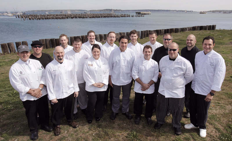 Chefs participating in the Grand Tasting on the Harbor gathered for a group photo last week on the Portland waterfront. Left to right are Al Hynes of the Black Point Inn, Jay Villani of Sonny's, Jeff Buerhaus of Walters, Justin Rowe of the Chebeague Island Inn, Alan Cook of Twenty Milk Street, Charles White of Cinque Terre, Melissa Bouchard of Dimillo's, Tony Lavelle of Solo Bistro, Eric Simeon of Grace, Christopher Bassett of Azure Cafe, Dan Crook of the Blue Wave Grill at the Wyndham Hotel, Jonathan Cartwright of the White Barn Inn, Harding Lee Smith of the Rooms, Jeff Landry of the Farmers Table, Joe Boudreau of Havana South and Mitchell Kaldrovich of Seaglass at the Inn by the Sea. Not pictured: Theda Lyden of the Harraseeket Inn.