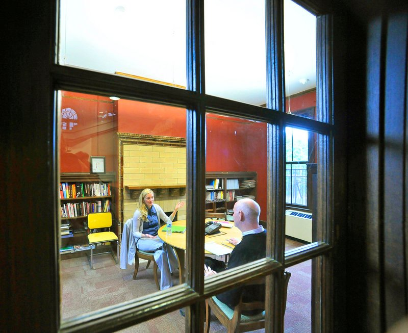 """The Reading Room, right, is often used as a meeting room. Said VIA's John Coleman: """"Every time I walked into this building ... it was so dramatic and beautiful."""