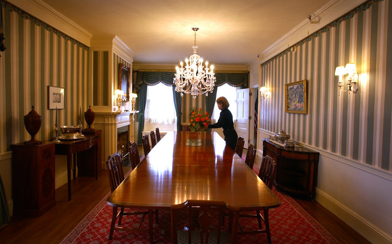 The Blaine House, Maine's executive mansion, boasts 20-foot table in its formal dining room, where the next governor will host dinners.