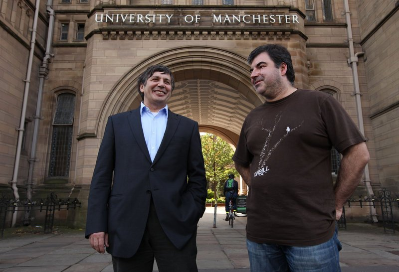 """Andre Geim, left, and Konstantin Novoselov shared the Nobel Tuesday for """"groundbreaking experiments"""" with a carbon vital for creating faster computers and transparent touch screens."""