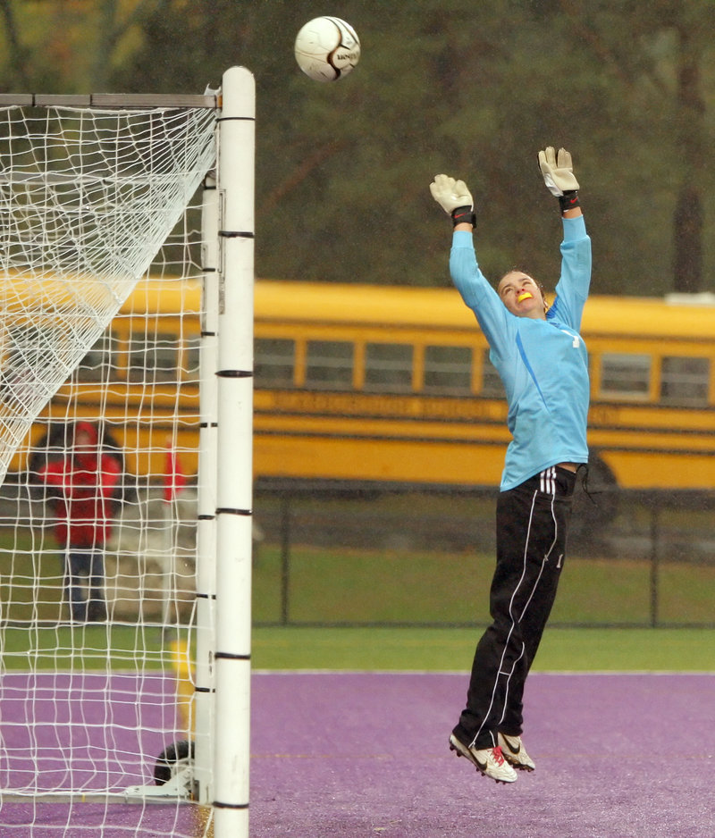Deering goalie Jen Lynch watches after she deflected a direct kick over the net during the first half against Scarborough on Wednesday. The Red Storm got a 3-0 win to stay unbeaten.