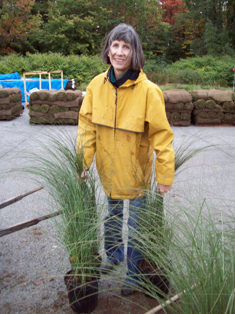 Amelia Small of Salmon Falls Nursery and Landscaping carries some grasses. She designed the garden.