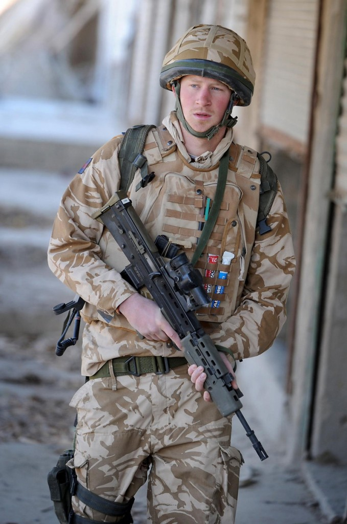 Prince Harry patrols the deserted town of Garmisir, southern Afghanistan, in this photo from 2008.