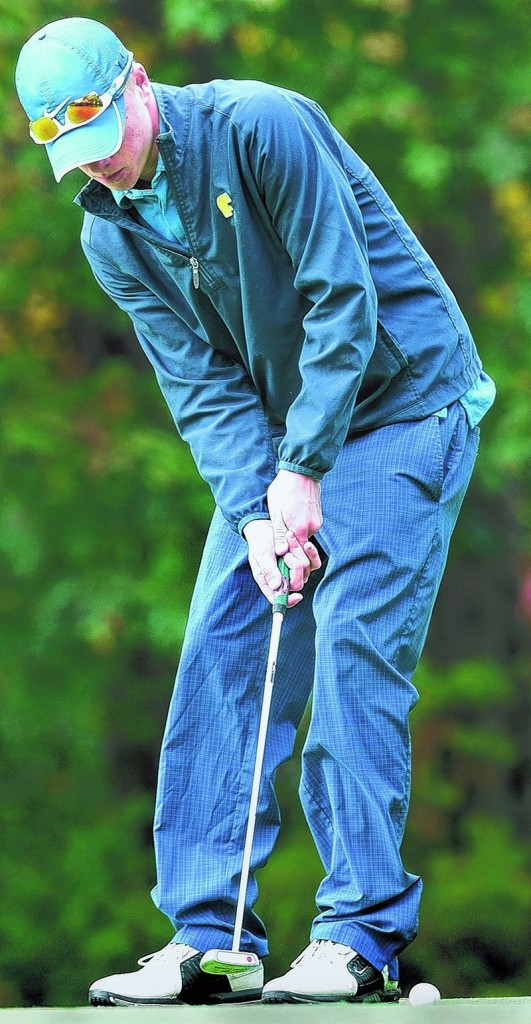 Connor Burfeind of Falmouth, putting on the 16th green Saturday, shot a 74 for the best overall score at the high school team golf championships at Natanis Golf Course. Falmouth won Class B by 12 shots.