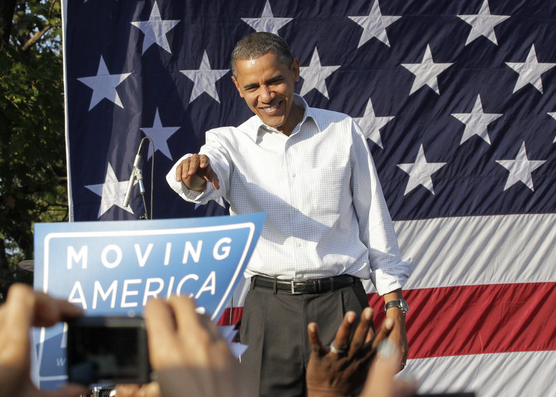 President Obama speaks at a rally in Philadelphia on Sunday, where he stepped up attacks on corporate and overseas interests that could be funding U.S. political campaigns.