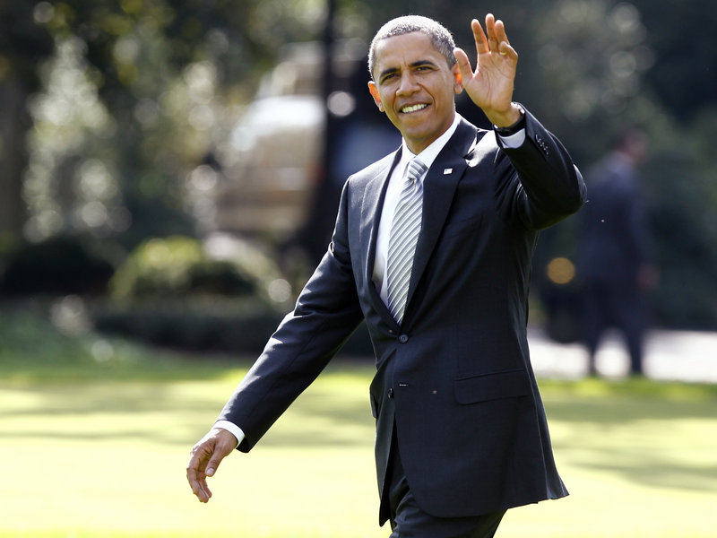 """President Obama prepares to board Marine One in Washington on Monday as he travels to Miami. """"All we need is the political will"""" to invest in infrastructure, he said."""