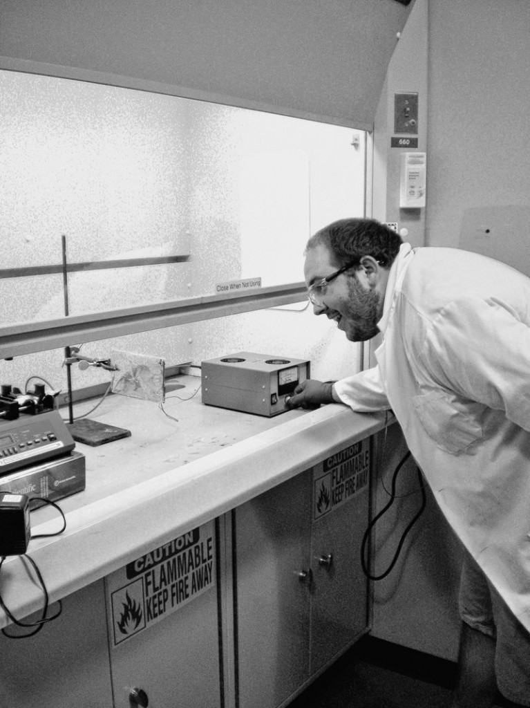 Jonathan Guerrette of Wells works in a Dartmouth College laboratory to create a safer surgical sponge.