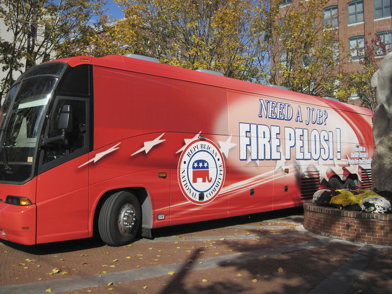 "The Republican National Committee brought its red ""Fire Pelosi"" bus to Portland Friday for a fundraising luncheon."