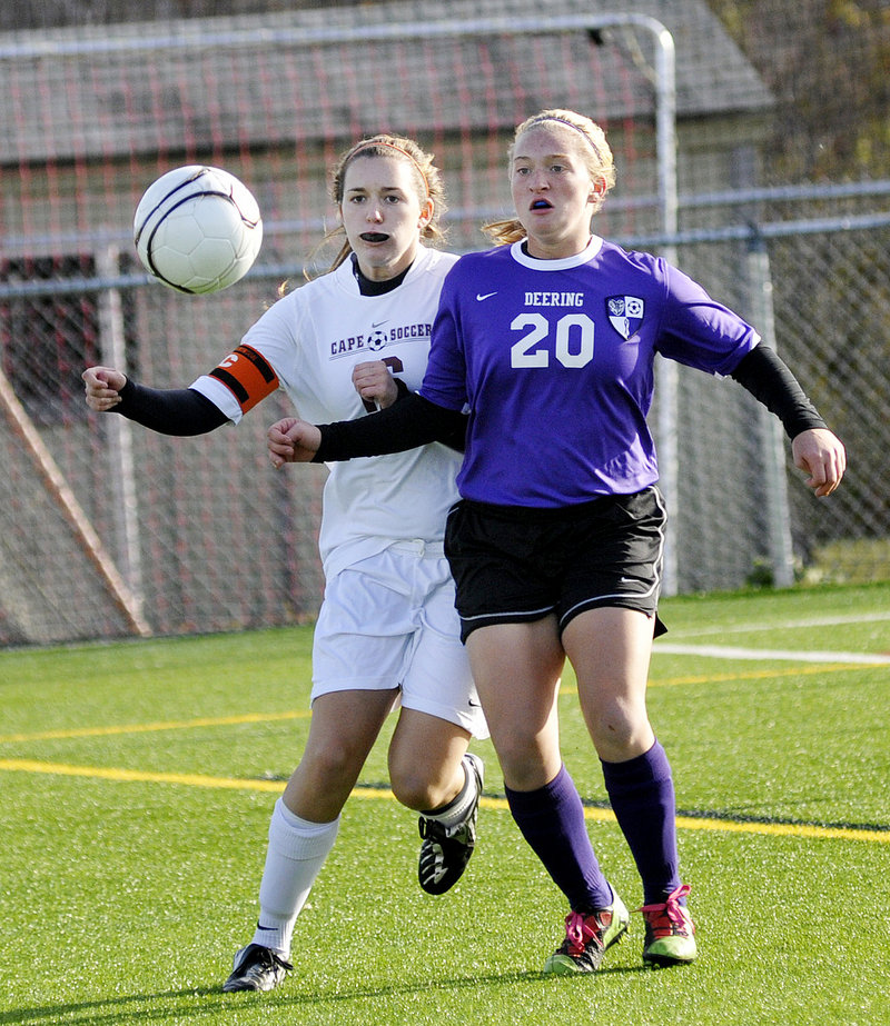 Alexis Elowitch of Deering, right, attempts to get to the ball ahead of Abigail Armstrong of Cape Elizabeth during the Capers 1-0 win in the Western Class A tourney Friday.
