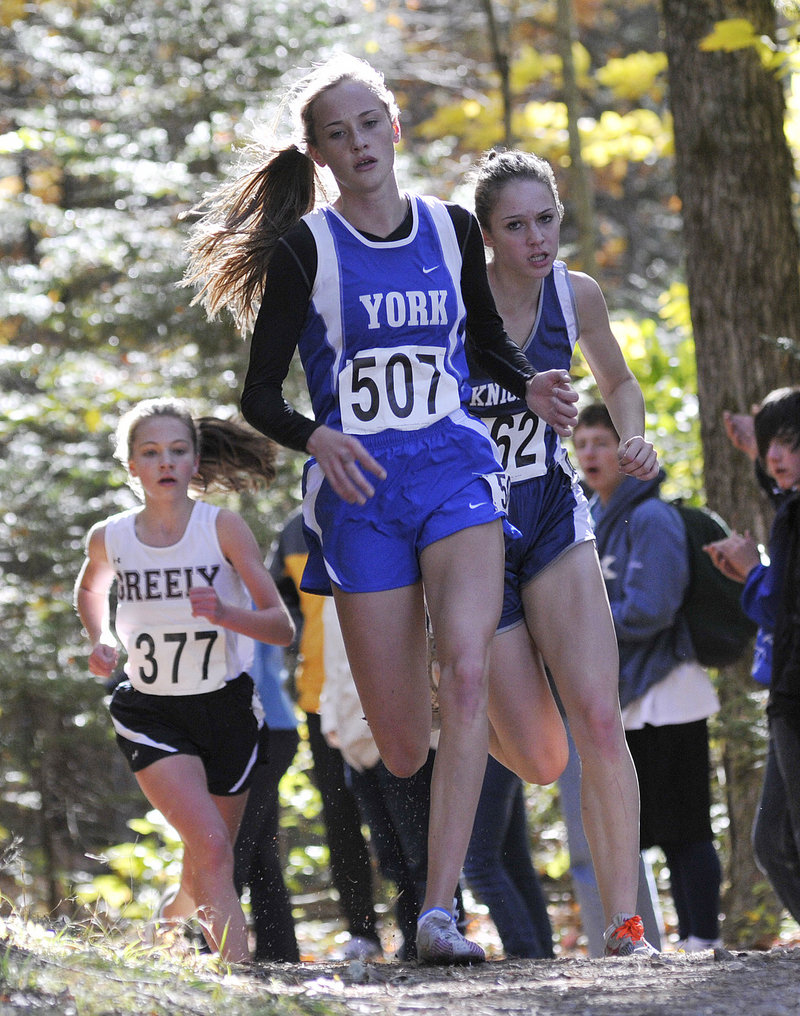 Heather Evans of York, who won the Western Maine Conference title, strides to a third-place finish in Western Class B, less than 6 seconds behind the winner, Abby Mace of Maranacook.