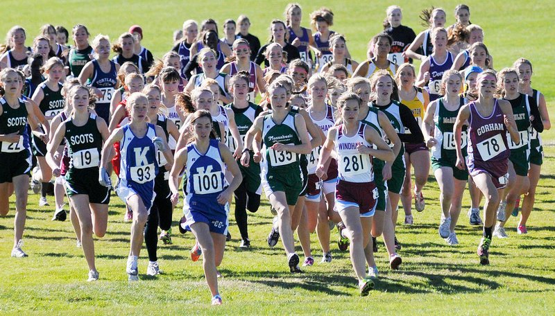 Off they go to start the Class A race Saturday in the Western Maine cross country regionals at Twin Brook Recreation Area in Cumberland. Abbey Leonardi of Kennebunk, No. 100, was the race winner in 18 minutes, 26.66 seconds over 3.1 miles.