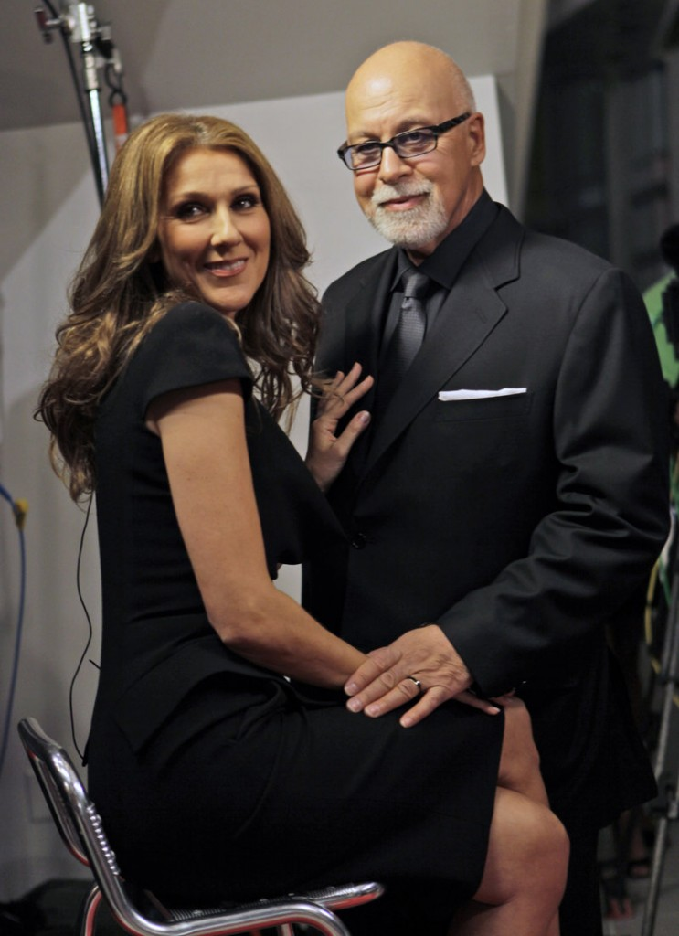 Celine Dion poses with her husband Rene Angelil.