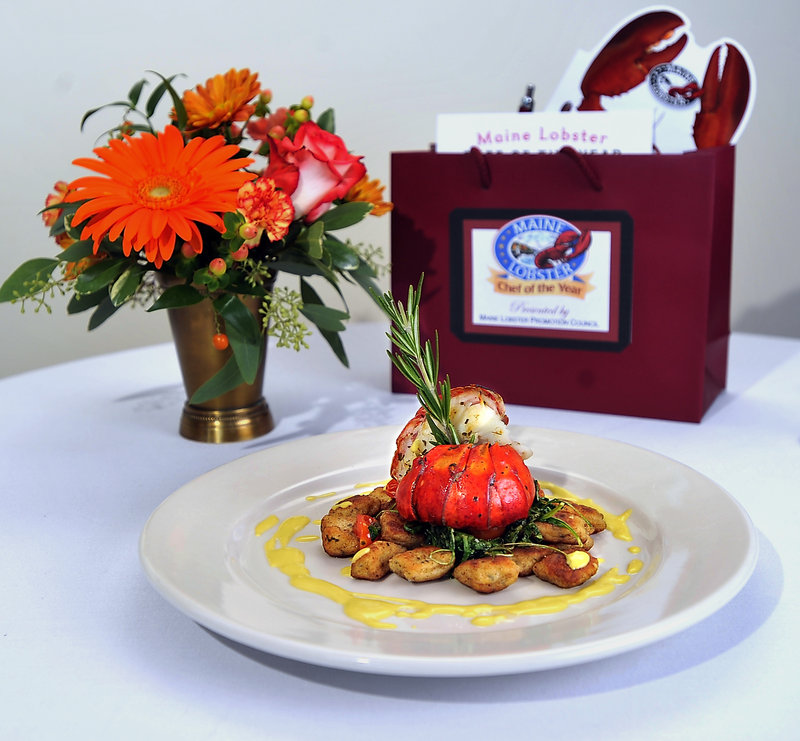 The winning dish by Kelly Patrick Farrin of Azure Cafe in Freeport, Herb-Grilled Maine Lobster Tail.