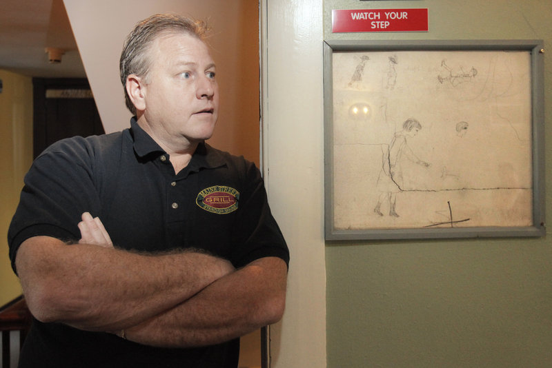 Dan Roberts, owner of the Maine Street Grill in Standish, says a litany of incidents at the restaurant have convinced him that the building is haunted by ghosts. The drawing at right, which Roberts found on the wall when he renovated the building, is of girls skating on a pond; Roberts believes that at least one of the ghosts in the restaurant is a young girl.
