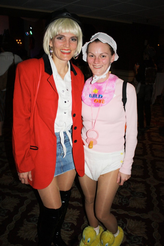 "Deb Fox, who won the prize for Hollywood Knockout dressed as Julia Roberts in ""Pretty Woman,"" and Michelle Fox, dressed as a baby."