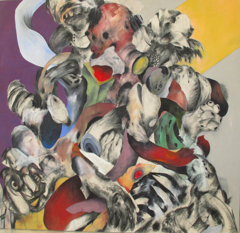 This untitled painting by Ahmed Alsoudani will be displayed at Aucocisco Galleries in Portland starting Wednesday.