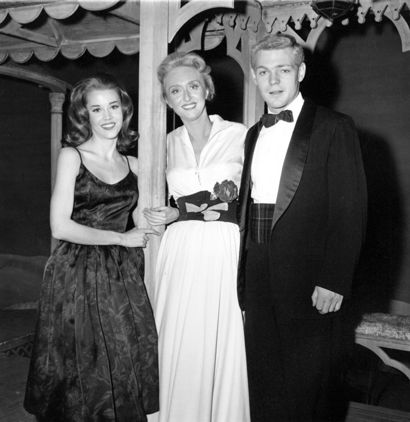 In this Oct. 29, 1960, file photo, Jane Fonda, left, and James MacArthur pose with Celeste Holm outside the Music Box Theatre in New York. MacArthur died Thursday at age 72.