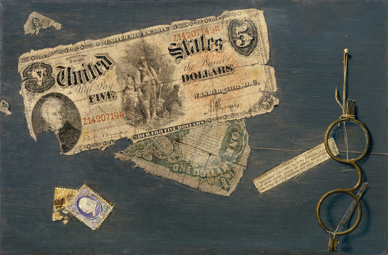 """Can You Break a Five?"" (1888), oil on canvas, is among John Haberle's impressive trompe l'oeil money paintings at the Portland Museum of Art."