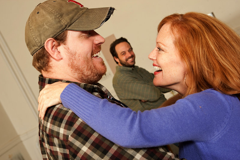 "Mike Houston, left, as Guy, David Mason as Nat and Kathy McCafferty as Lurenerehearse a scene from ""Last Gas."""