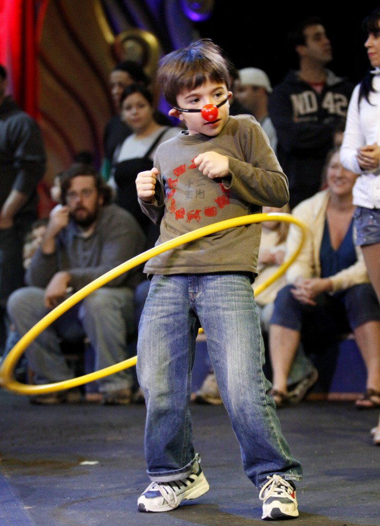 Alessandro Lombardo, 7, of Cape Elizabeth hula-hoops it before the start of the Ringling Bros. and Barnum & Bailey Circus performance Thursday.