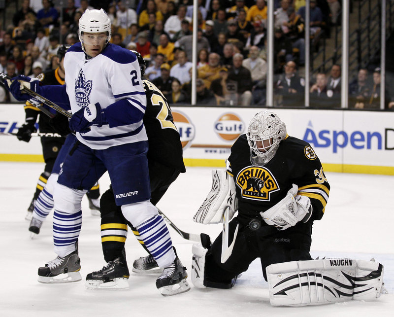 Tim Thomas continued his strong start Thursday night for the Boston Bruins, stopping Luke Schenn of Toronto. Thomas is 5-0 with two shutouts and a 0.60 goals-against average.
