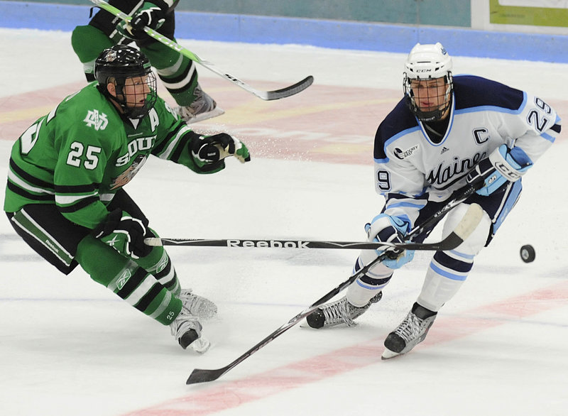 Tanner House and the Black Bears must adapt from the physical play of teams like North Dakota to the speed and quickness of Hockey East teams.