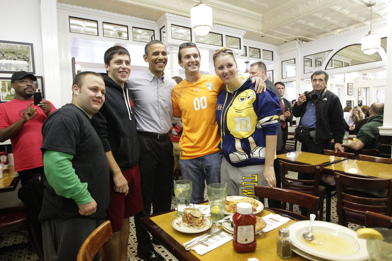 President Obama stops for lunch at the Famous Fourth Street Deli in Philadelphia on Saturday after a rally at Temple University. Obama is making a final get-out-the-vote push for Democratic candidates.