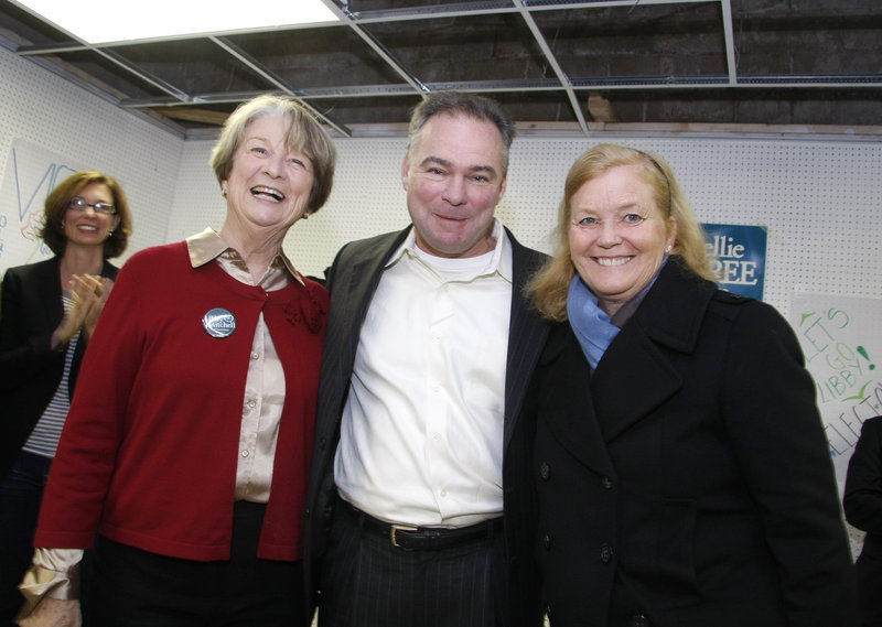 Democratic National Committee Chairman Tim Kaine attends a get-out-the-vote rally with gubernatorial candidate Libby Mitchell, left, and U.S. Rep. Chellie Pingree on Saturday.