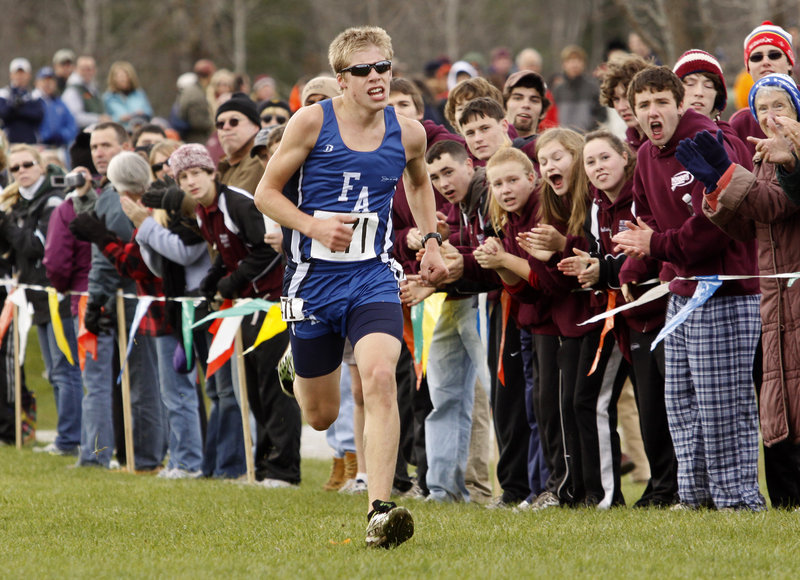 Silas Eastman of Fryeburg Academy capped a perfect year, winning Class B with the day's second-best time.
