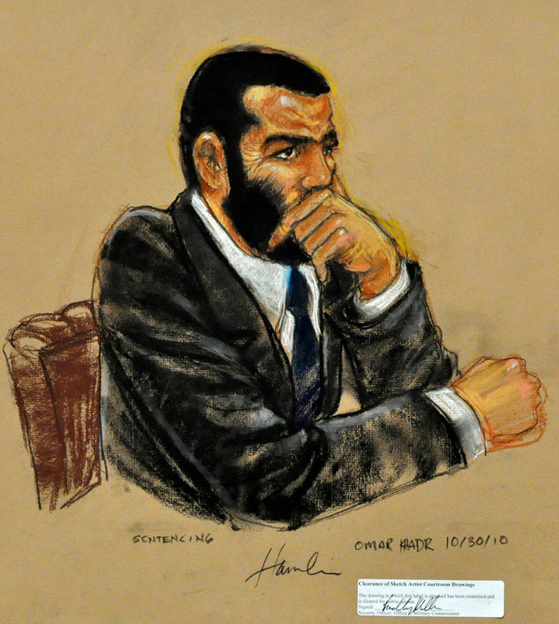 In a sketch by courtroom artist Janet Hamlin, Omar Khadr listens to closing arguments in his sentencing hearing at Guantanamo Bay Naval Base on Saturday.