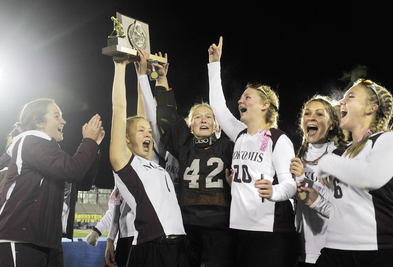 The Nokomis field hockey team had reason to cheer and strut around Morse Field on the University of Maine campus after beating York to win its first Class B state title on Saturday.