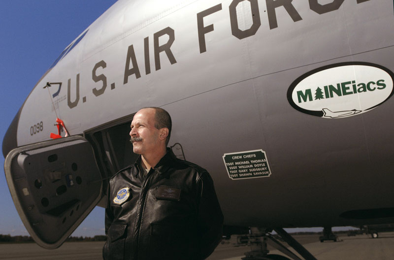In this Oct. 11, 2010 photo, Col. John D'Errico, commander of the 101st Air Refueling Wing, Maine Air National Guard, stands on the flight line of the KC-135 tanker aircraft, in Bangor, Maine.