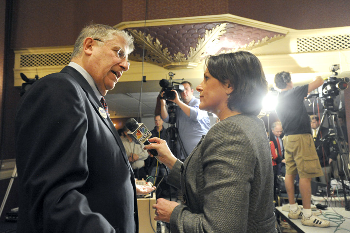 Eliot Cutler is interviewed by WCSH's Kathleen Shannon at the Campaign headquarters at the Eastland Hotel in Portland Tuesday night.