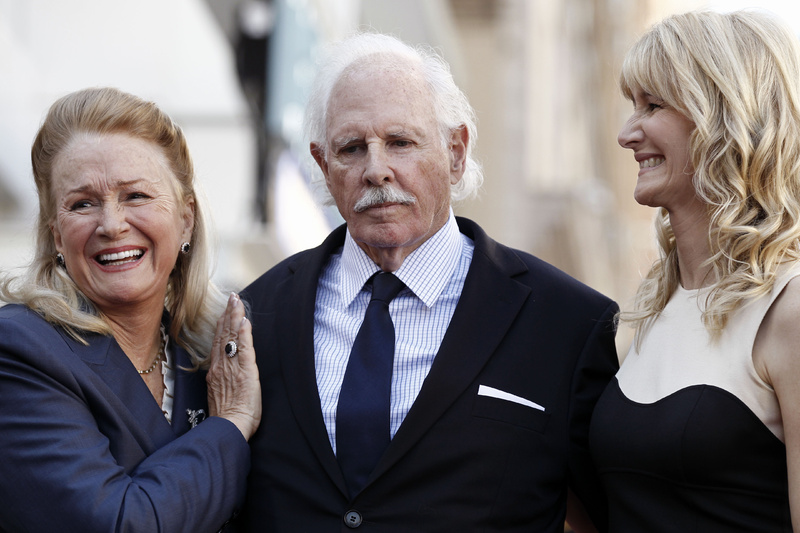 Actress Diane Ladd, left, actor Bruce Dern and actress Laura Dern pose after all received stars on the Hollywood Walk of Fame on Monday.
