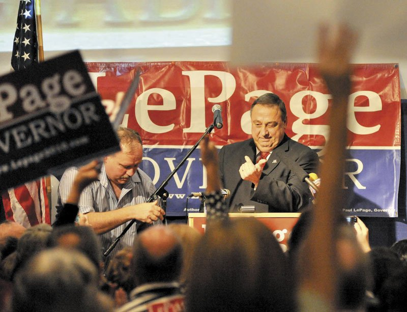 Paul LePage speaks to supporters at the election results party at Champions in Waterville Tuesday night.