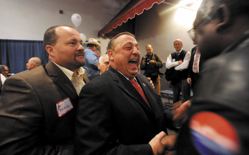 Paul LePage at his election night party at Champions in Waterville Tuesday night. The governor-elect said he'll reveal his transition team on Friday.