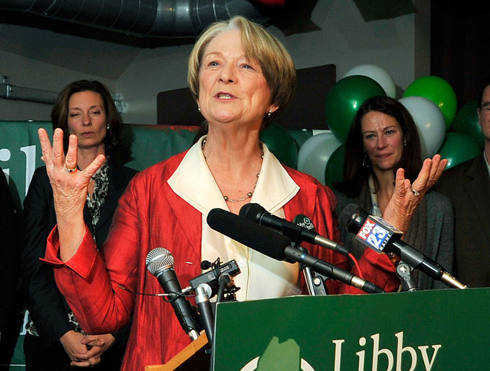 Libby Mitchell thanks her supporters and staff for a hard fought campaign during her Election Night party at Bayside Bowl in Portland.