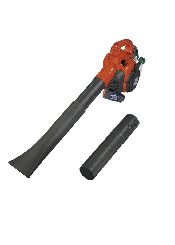The Husqvarna 28cc2-Cycle Handheld Gas Blower has an auto return stop switch that automatically resets to the on position. The blowing tube length is also adjustable. This blower sells for $149.