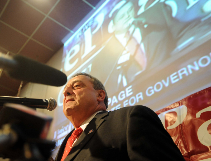 Staff photo by Michael G. Seamans Paul LePage talks to supporters as poll numbers roll in at the election night party at Champions in Waterville Tuesday night.