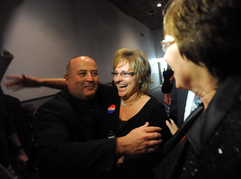 Staff photo by Michael G. Seamans Ann LePage, wife of Paul LePage is greeted at the election night party at Champions in Waterville Tuesday night.