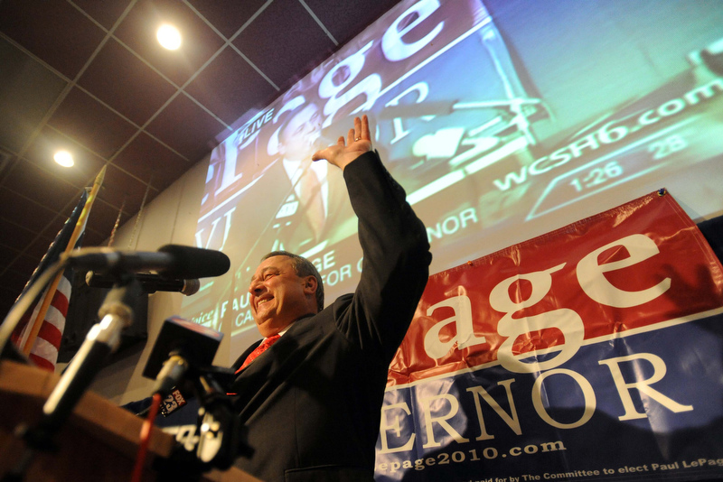 Paul LePage speaks to supporters at the election night party at Champions in Waterville recently.