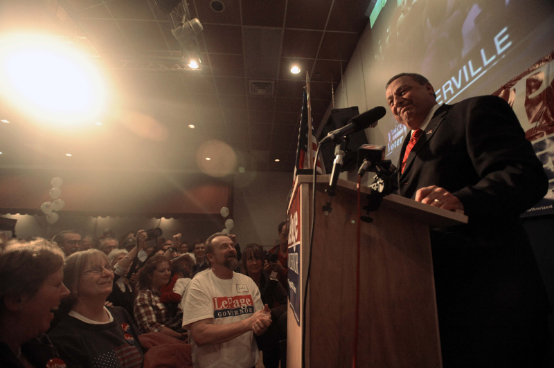 Staff photo by Michael G. Seamans Paul LePage speaks to supporters at the election night party at Champions in Waterville Tuesday night.